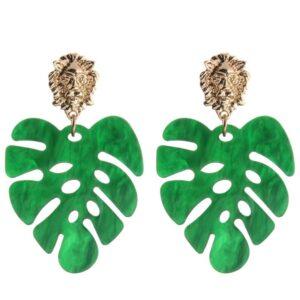 Versace, Look alike, earrings, palm leaf earrings, palm leaf, lion head, gold lion head earrings, tropical earrings, designer earrings, miami designer, miami fashion