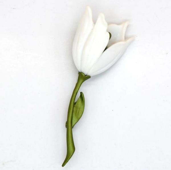 , Versailles White Tulip Parisian Iron Brooch Pin, ChristiTasker