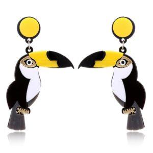 toucan, acrylic earrings, christi Tasker, miami beach designer, best fashion jewelry 2020, best fashion designer 2020, conversational earrings, beach earrings, tropical earrings, designer earrings, miami designer, miami fashion
