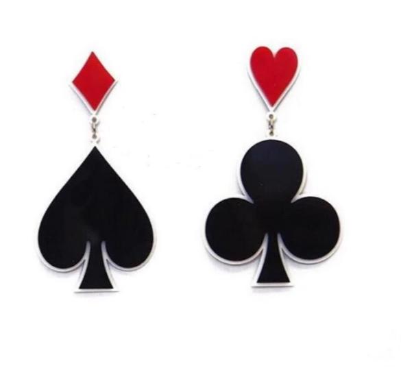 Playing Card Earrings, playing card jewelry, card earrings