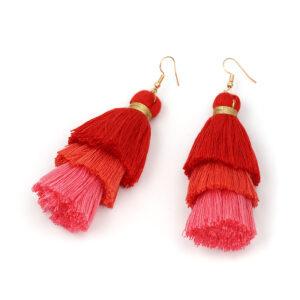 coral, pink, red, flamingo, Bohemian, Tassel, Earrings, tassle, Christi Tasker, resort wear, beach fashion, earrings, tropical earrings, designer earrings, miami designer, miami fashion