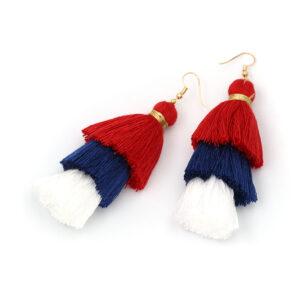 red, white, blue, Bohemian, Tassel, Earrings, tassle, Christi Tasker, resort wear, beach fashion, earrings, tropical earrings, designer earrings, miami designer, miami fashion