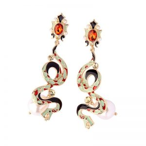 Christi Tasker, Snake Earrings, Gucci, Fendi, Versace, Look alike, earrings, tropical earrings, designer earrings, miami designer, miami fashion